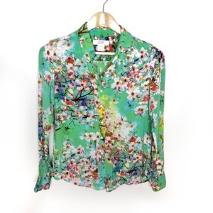 Joe Fresh Green Floral Silk Blouse
